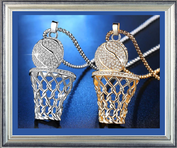 Win 1 of 6 CRYSTAL Basketball Necklaces!