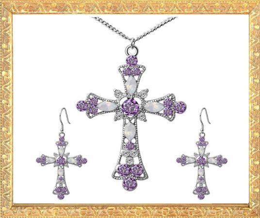 Win 1 of 6 CRYSTAL Cross Pendant Jewellery SETS!
