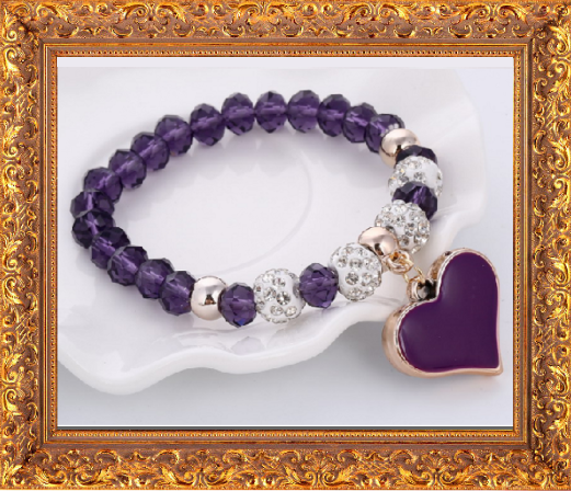 Win 1 of 7 CRYSTAL Heart Beaded Bracelet