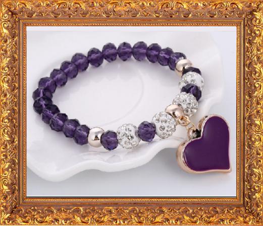 Win 1 of 7 CRYSTAL Heart Beaded Bracelet