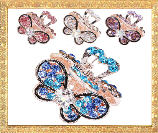 Win 1 of 7 CRYSTAL Butterfly Hair Clips