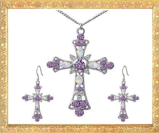 Win 1 of 6 CRYSTAL Cross Pendant Jewellery SETS!
